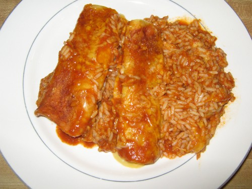 Cheese Enchiladas with Rice & Sauce
