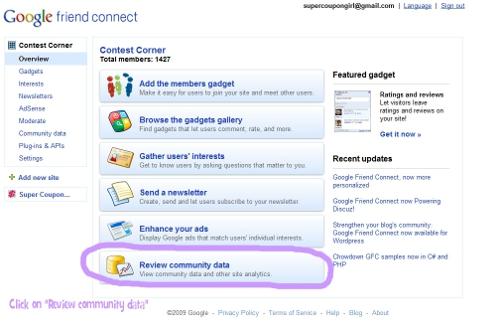 Google Friend Connect Dashboard