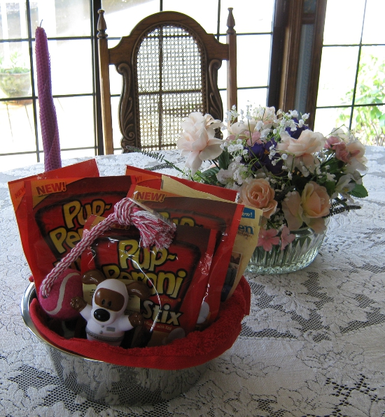 Doggie Gift Basket on Grandma's Table