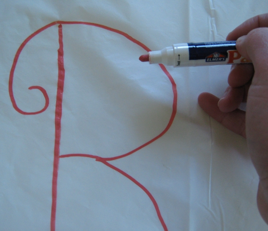 Making the bachelorette tablecloth
