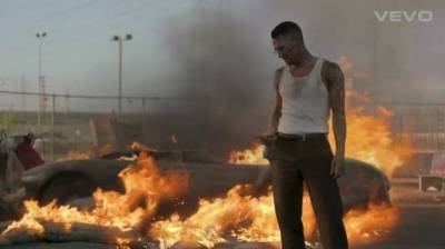 "Adam Levine in the video for ""Payphone"""