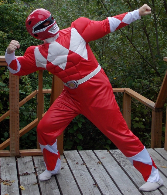 The Red Power Ranger costume in action!