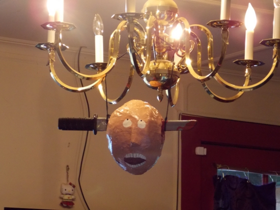 Head on chandelier