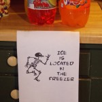 Skeleton ice sign