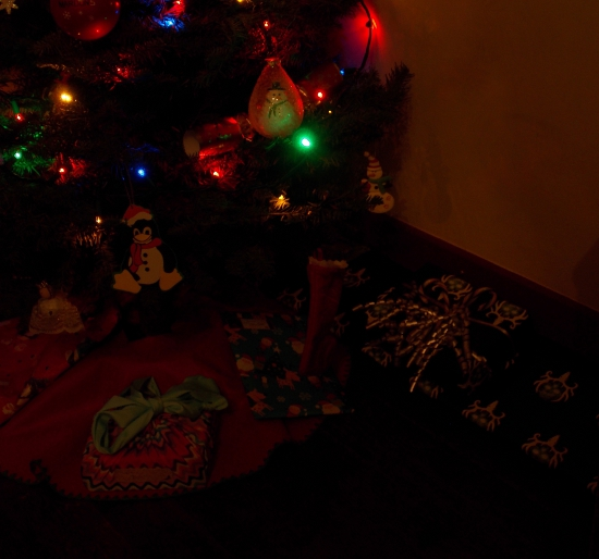 Daisy BB Gun tucked under the Christmas tree