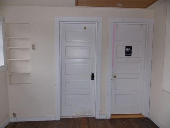 Doors to the bathroom & laundry room - before