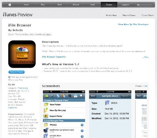 iFile Browser in the iTunes store