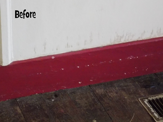 Scuffed up baseboards - before
