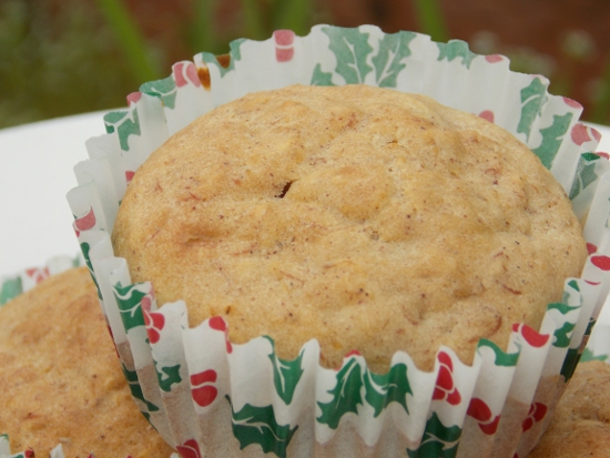Closeup of one of the oatmeal banana muffins