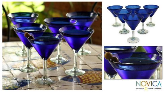 Martini glasses - Sapphire Blue