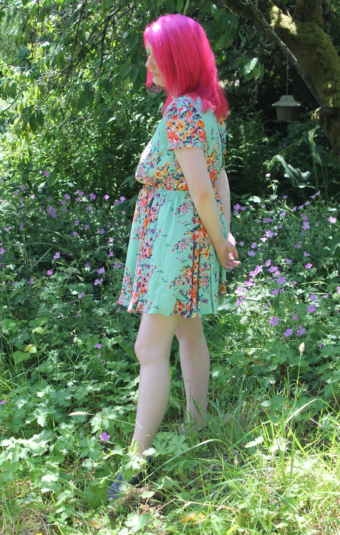 Mint Green Floral Open Back Dress - side view