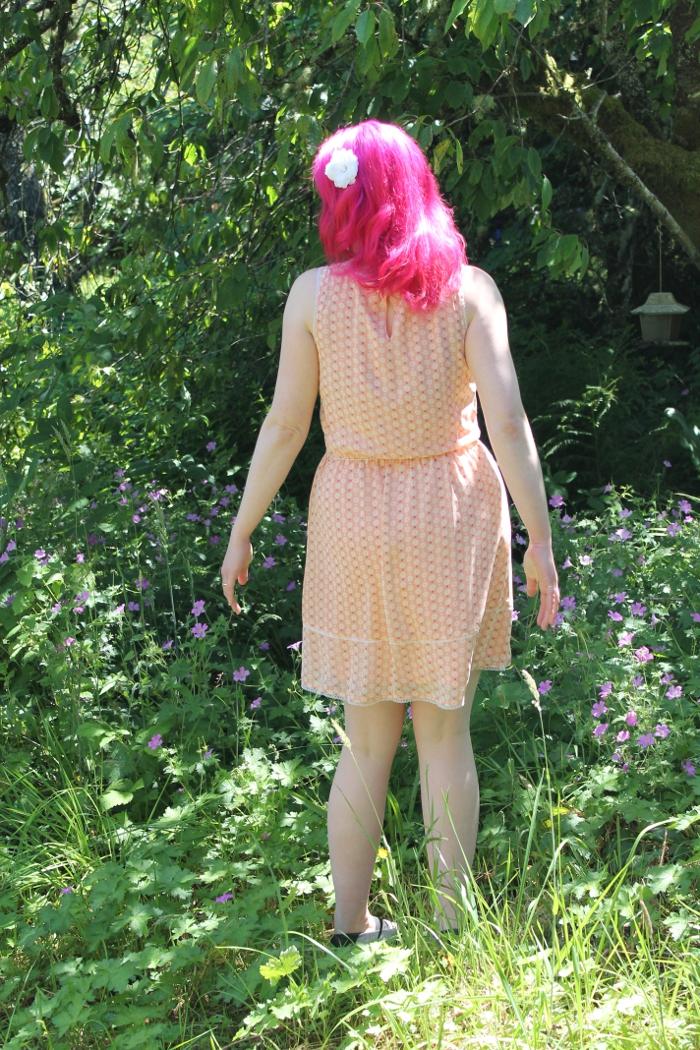 Peach Floral Print Chiffon Dress - back view