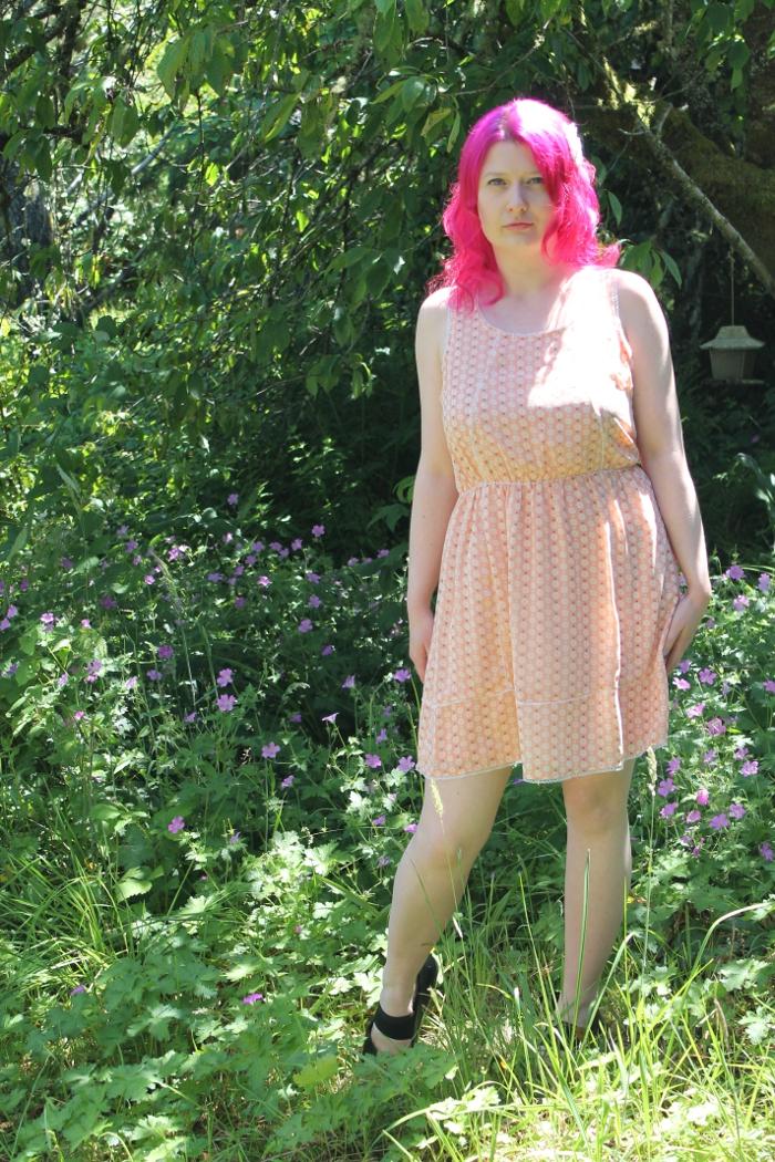Peach Floral Print Chiffon Dress - front view