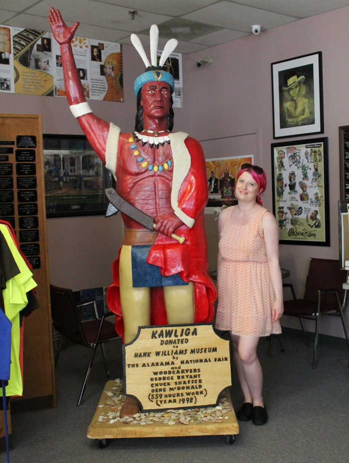 Wearing my Pink Blush dress in the Hank Williams Museum