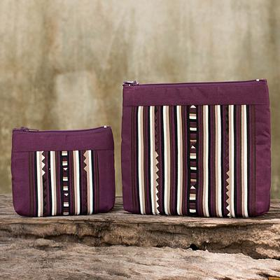 Maroon Cotton Blend Cosmetic Cases